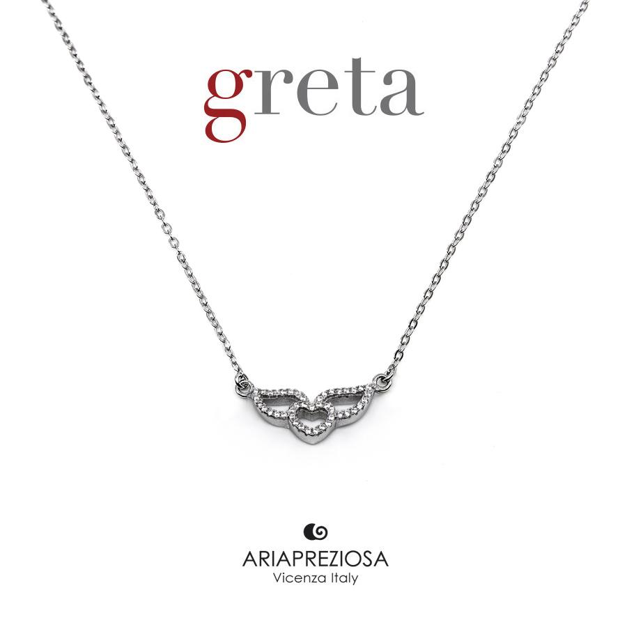 Collana Argento - Cuore con ali e Zirconi