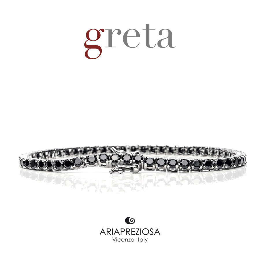 Bracciale Tennis 3mm - Argento & Black