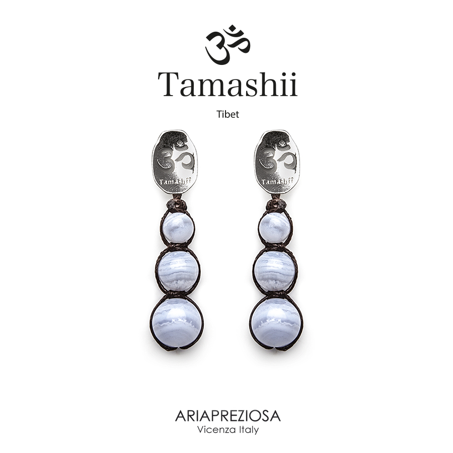 Tamashii Silver Earrings Chalcedony