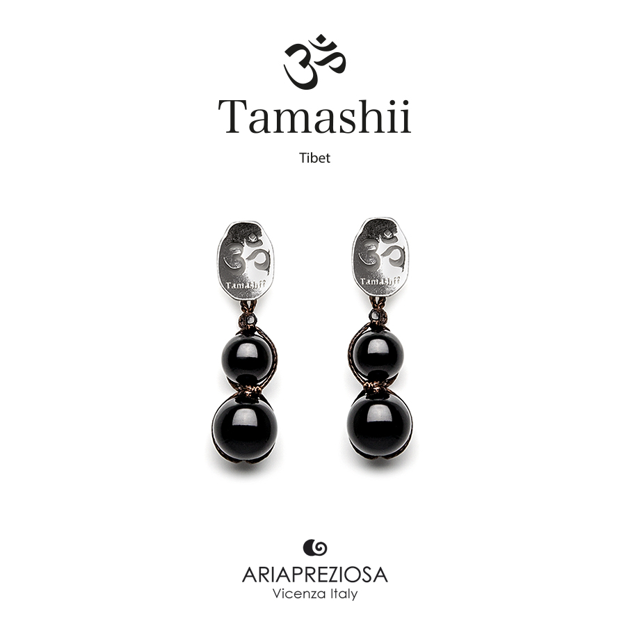Tamashii Silver Earrings Onyx