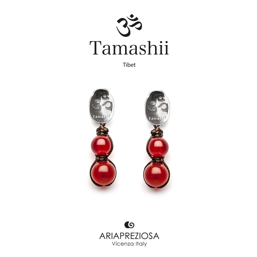 Tamashii Silver Earrings Red Passion Agate