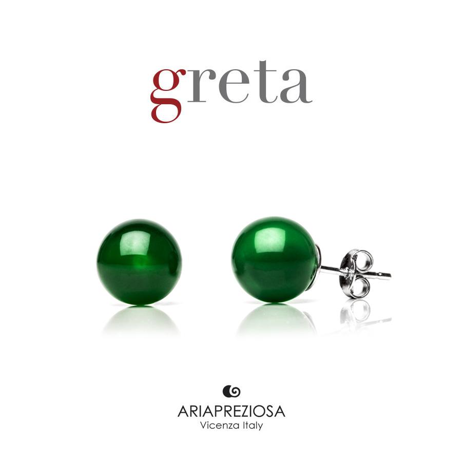 Orecchini Argento con Pietra Verde 10 mm