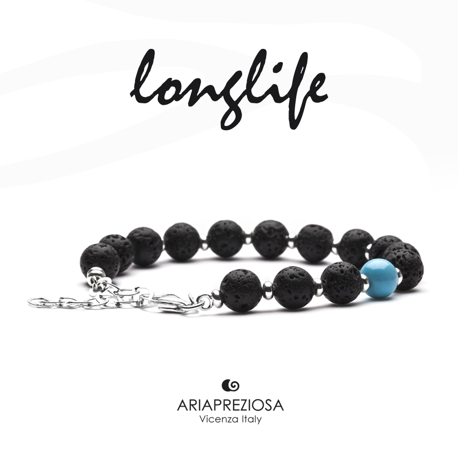Bracciale Longlife Lava & Turchese (8mm)