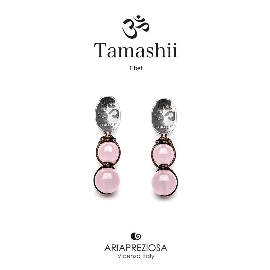 Tamashii Silver Earrings Pink Jade