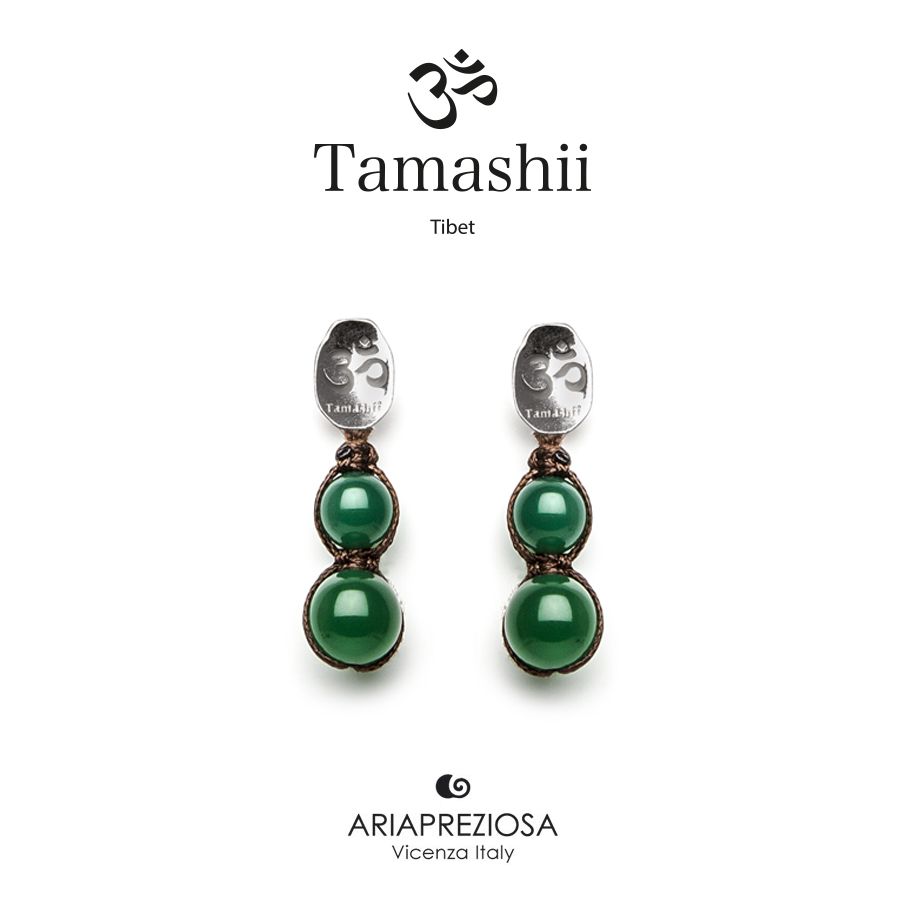 Tamashii Silver Earrings Green Agate