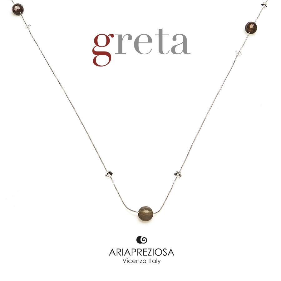 Collana Argento con Agata Marrone Striata (8mm)