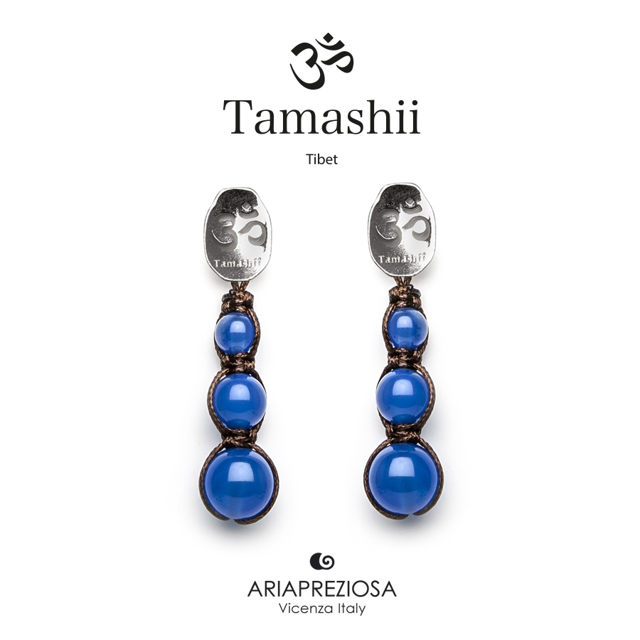 Tamashii Silver Earrings Blue Agate