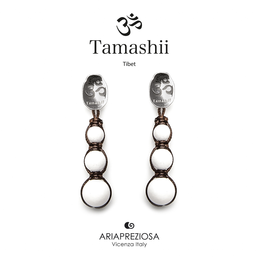 Tamashii Silver Earrings White Agate